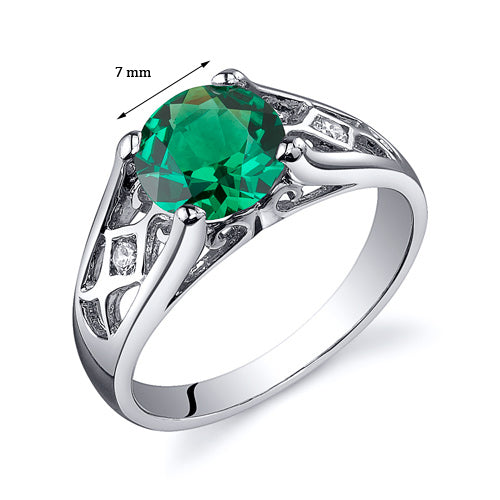 Cathedral Design Emerald Solitaire Ring in Sterling Silver 1.25 Cts.