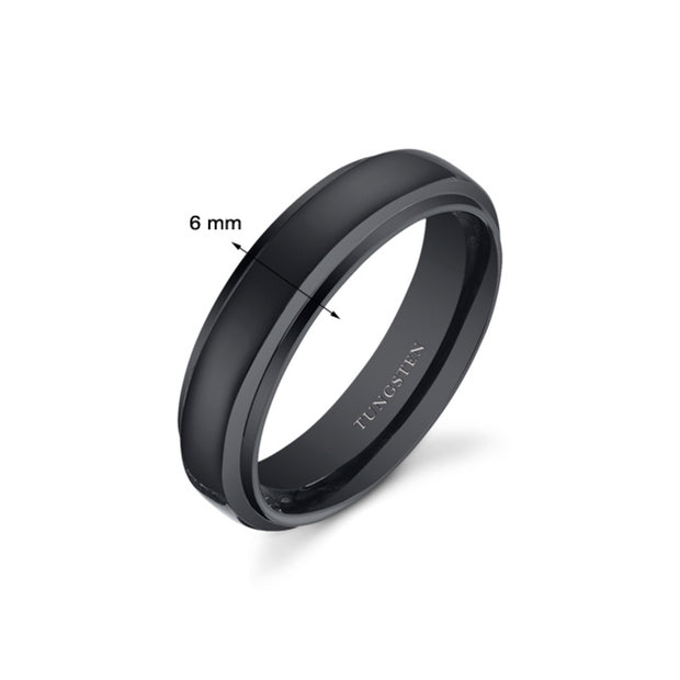 Black Color Rounded Top Mens Tungsten Ring 6mm