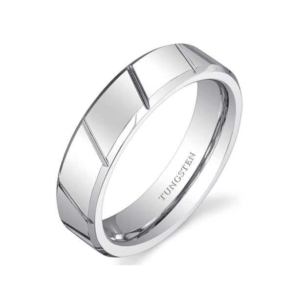 Diagonal Notches 6mm Mens Cobalt Ring