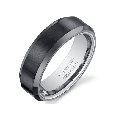 Beveled Edge Brushed Center Mens Tungsten Black Ceramic Ring 8mm