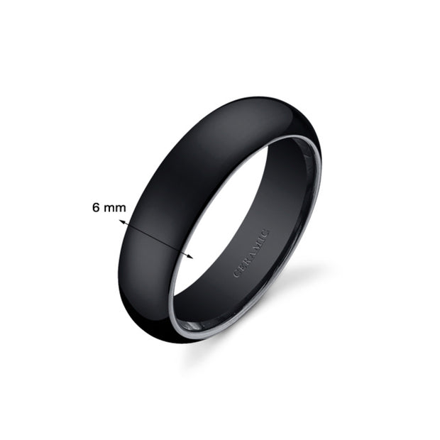 Dome Style Mens Black Ceramic Ring 6mm