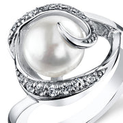 Freshwater White Pearl Sterling Silver Ring 8.5mm