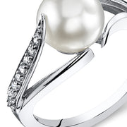 Freshwater White Pearl Sterling Silver Ring 8mm