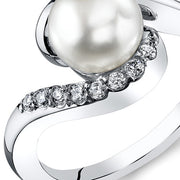 Freshwater White Pearl Sterling Silver Ring 7mm