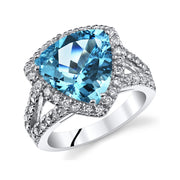 Swiss Blue Topaz Trillion Ring 5.00 Cts.