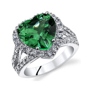 Heart Emerald Sterling Silver Ring 6.00 CTW.