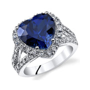 Blue Sapphire Sterling Silver Ring 6.50 CTW.
