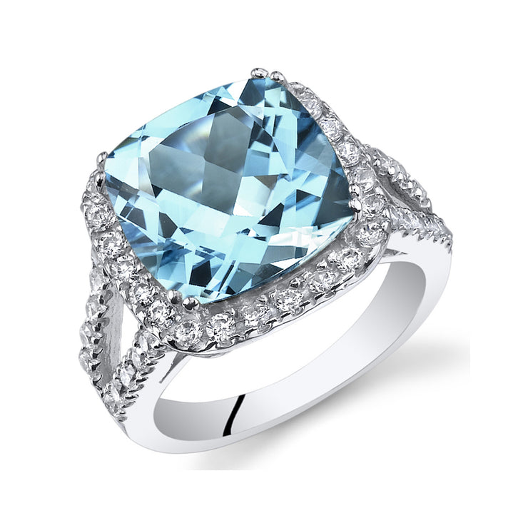 Swiss Blue Topaz Cushion Ring 6.25 CTW.