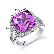 Pink Sapphire Sterling Silver Ring 7.50 CTW.
