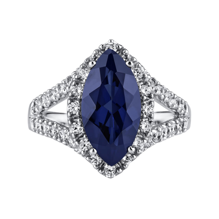 Blue Sapphire Sterling Silver Ring 3.50 Carats