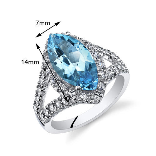 Swiss Blue Topaz Marquise Ring 2.75 Cts.