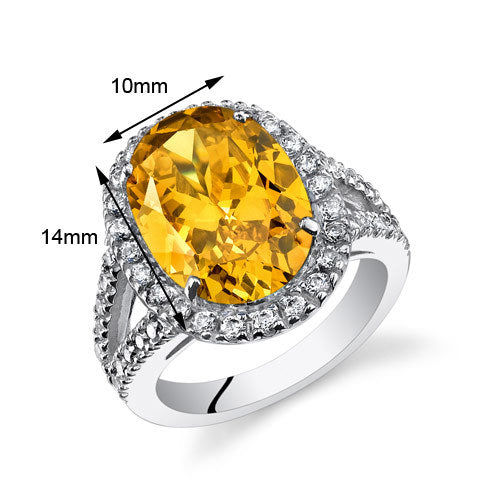 Oval Yellow Cubic Zirconia Ring 8.25 CTW.