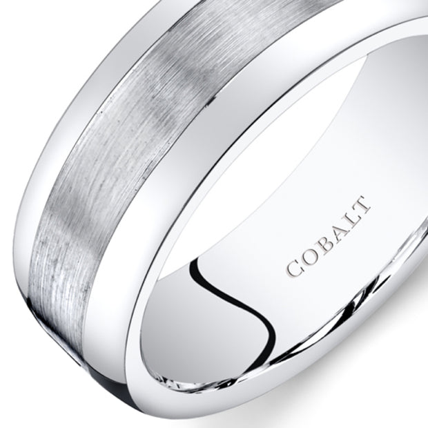 Mens Cobalt Wedding Band Ring Brush Finish 8mm