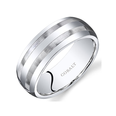 Mens Cobalt Wedding Band Ring Brushed Stripes 8mm