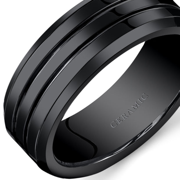 Mens Black Ceramic Wedding Band Ring Grooves 8mm