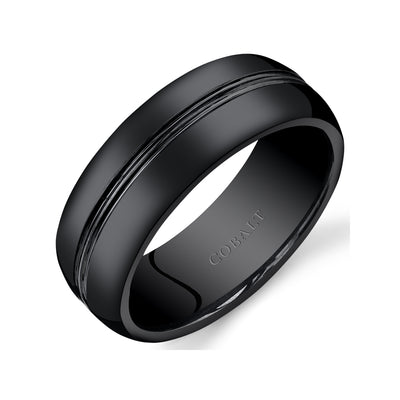 Mens Black Cobalt Wedding Ring Double Groove 8mm