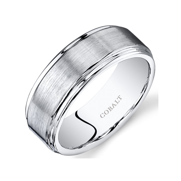 Flat Brushed Top Mens Cobalt Wedding Band Ring 8mm
