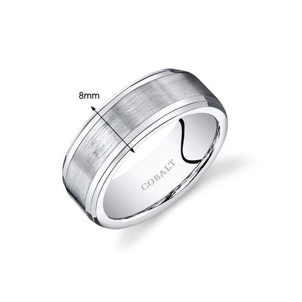 Mens Cobalt Wedding Ring Center Brushed Finish 8mm
