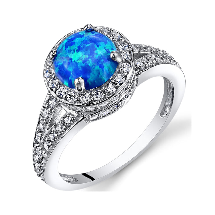 Blue Opal Halo Ring Sterling Silver 1.00 Carats
