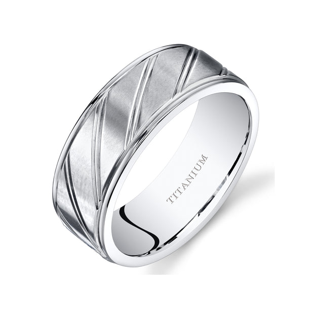Mens Titanium Band Ring Diagonal Groove 8mm
