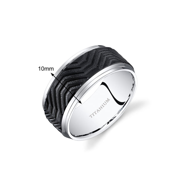 Titanium Mens Wedding Band Ring Black Wave Pattern 10.0mm