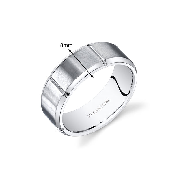 Mens Titanium Notched Matte Wedding Band Ring 8mm