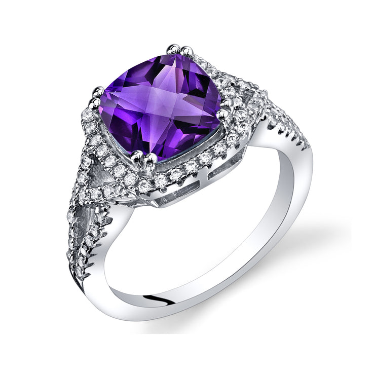 Amethyst Cushion Cut Checkerboard Ring Sterling Silver 2.00 Carats