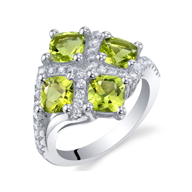 Brilliant Peridot Quad-Set Ring 2.50 CTW.