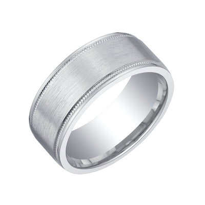 Mens Classic Sterling Silver Wedding Ring Band Comfort Fit 8mm