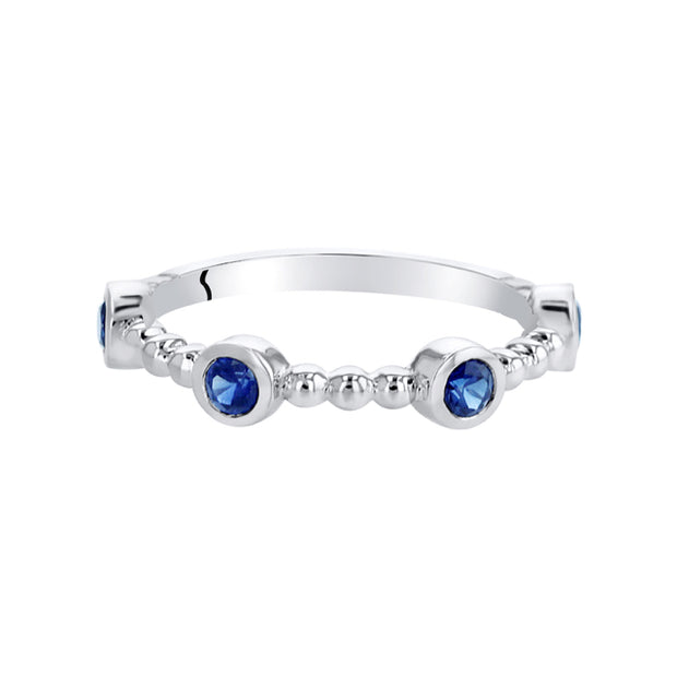Stackable Sapphire Sterling Silver Ring