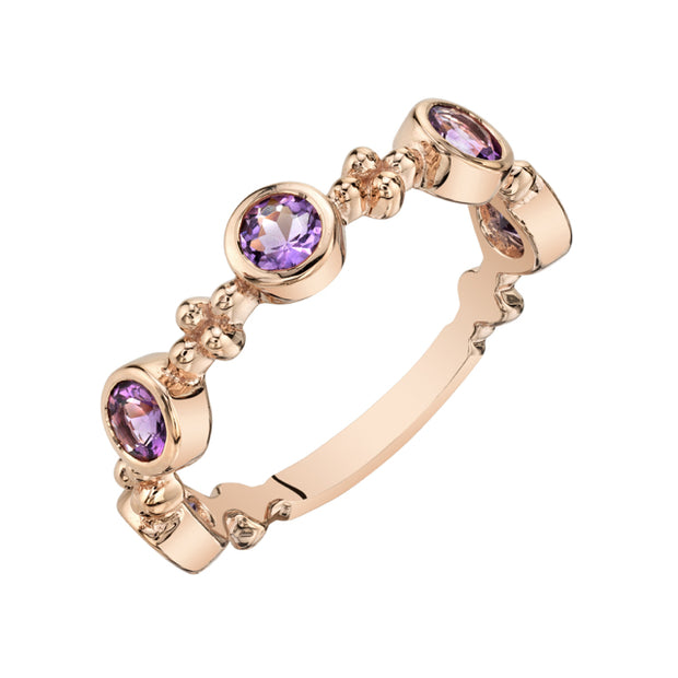 Stackable Amethyst Rose Gold-Tone Amethyst Ring