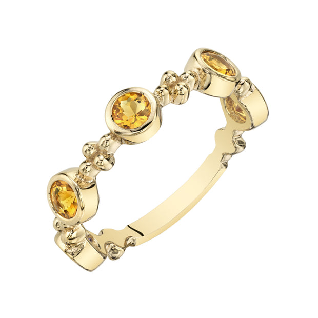 Stackable Citrine Yellow Tone Sterling Silver Ring