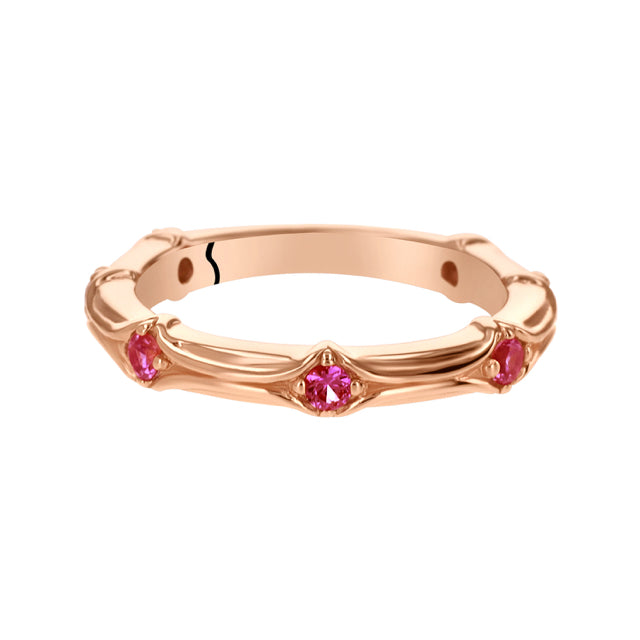 Stackable Pink Sapphire Rose Gold-Tone Sterling Silver Ring