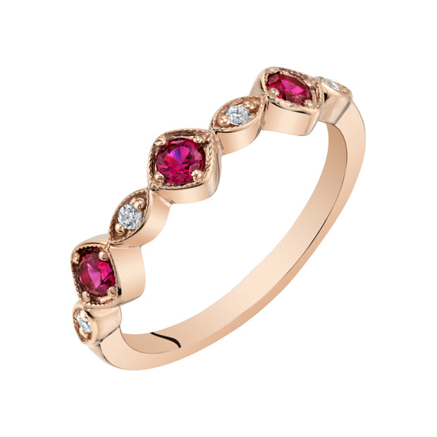 Stackable Ruby Rose Tone Sterling Silver Ring