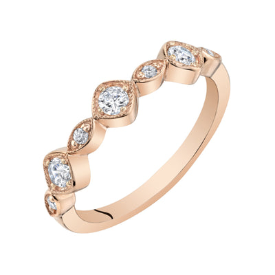 Stackable Cubic Zirconia Rose-Tone Sterling Silver Ring