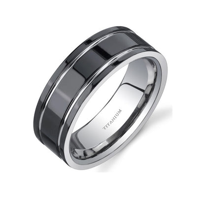 Comfort Fit Mens Black Titanium Ring 8 mm