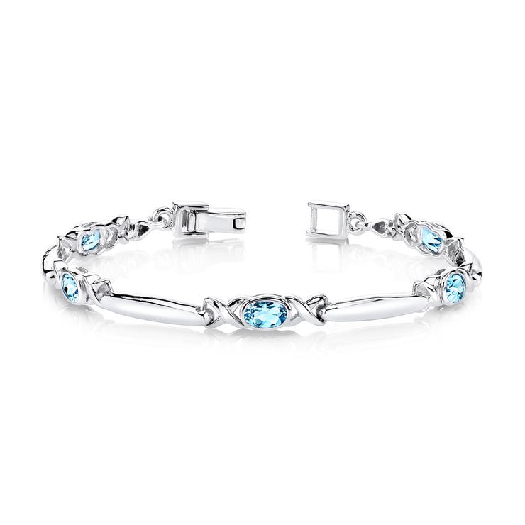 Swiss Blue Topaz Gemstone Bracelet in Sterling Silver 2.75 CTW.