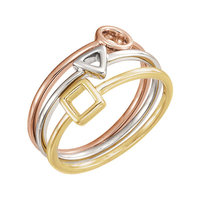 14k Tri-Gold Geometric Stackable Rings