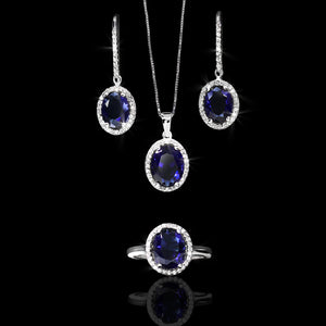Set de Zafiro 11.06 quilates y Diamantes 0.54 quilates en Oro 14K
