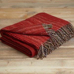 Heritage tweed wool throw - Red