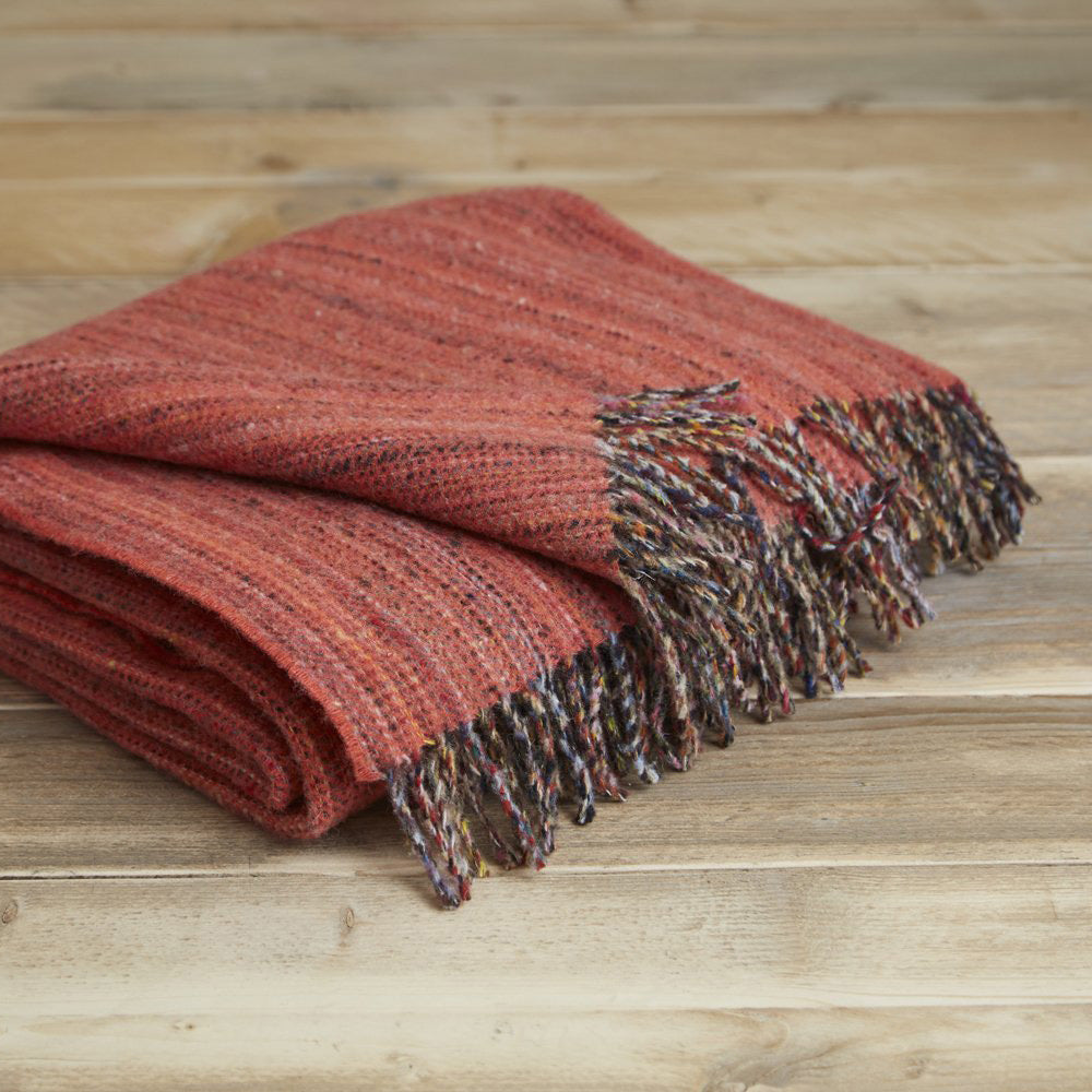 Heritage tweed wool throw - Coral