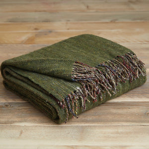 Heritage tweed wool throw - Meadow green