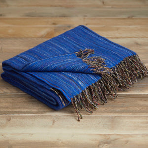 Heritage tweed wool throw - Royal blue