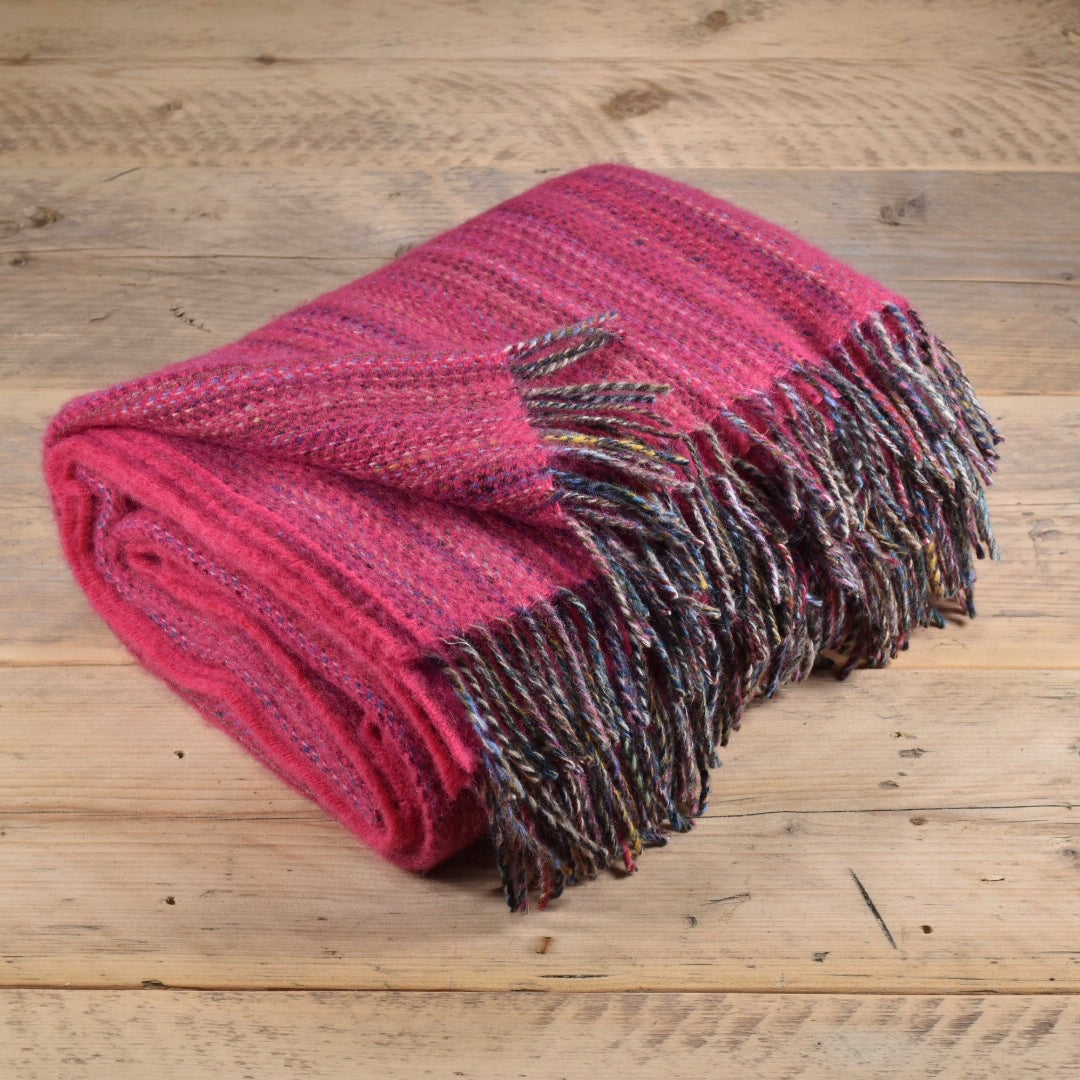Heritage tweed wool throw - Fuchsia