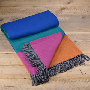 Block colour merino wool throw - Navigator
