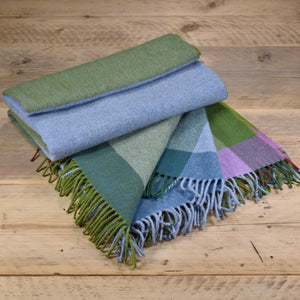 Block colour merino wool throw - Valencia