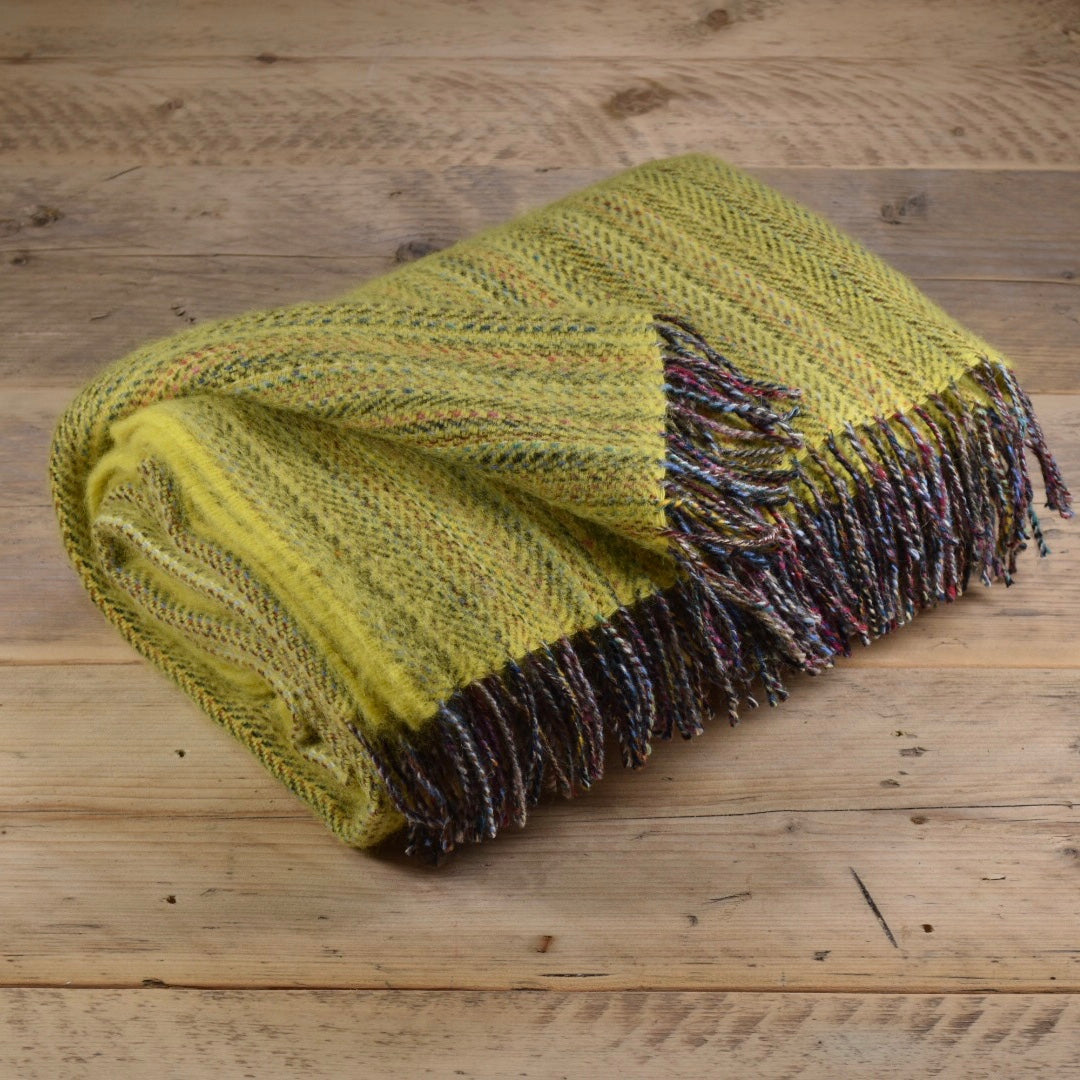 Heritage tweed wool throw - Sunfish yellow