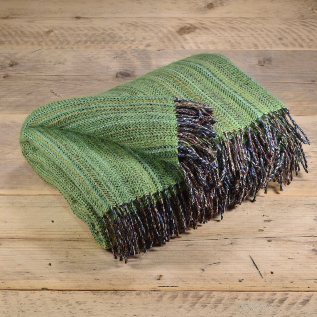 Heritage tweed wool throw - Lime green