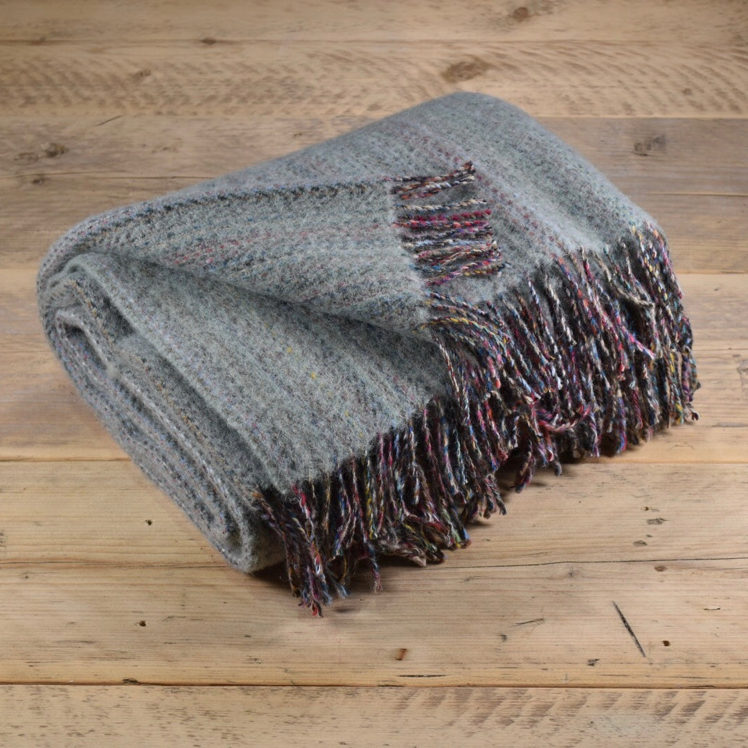 Heritage tweed wool throw - Grey