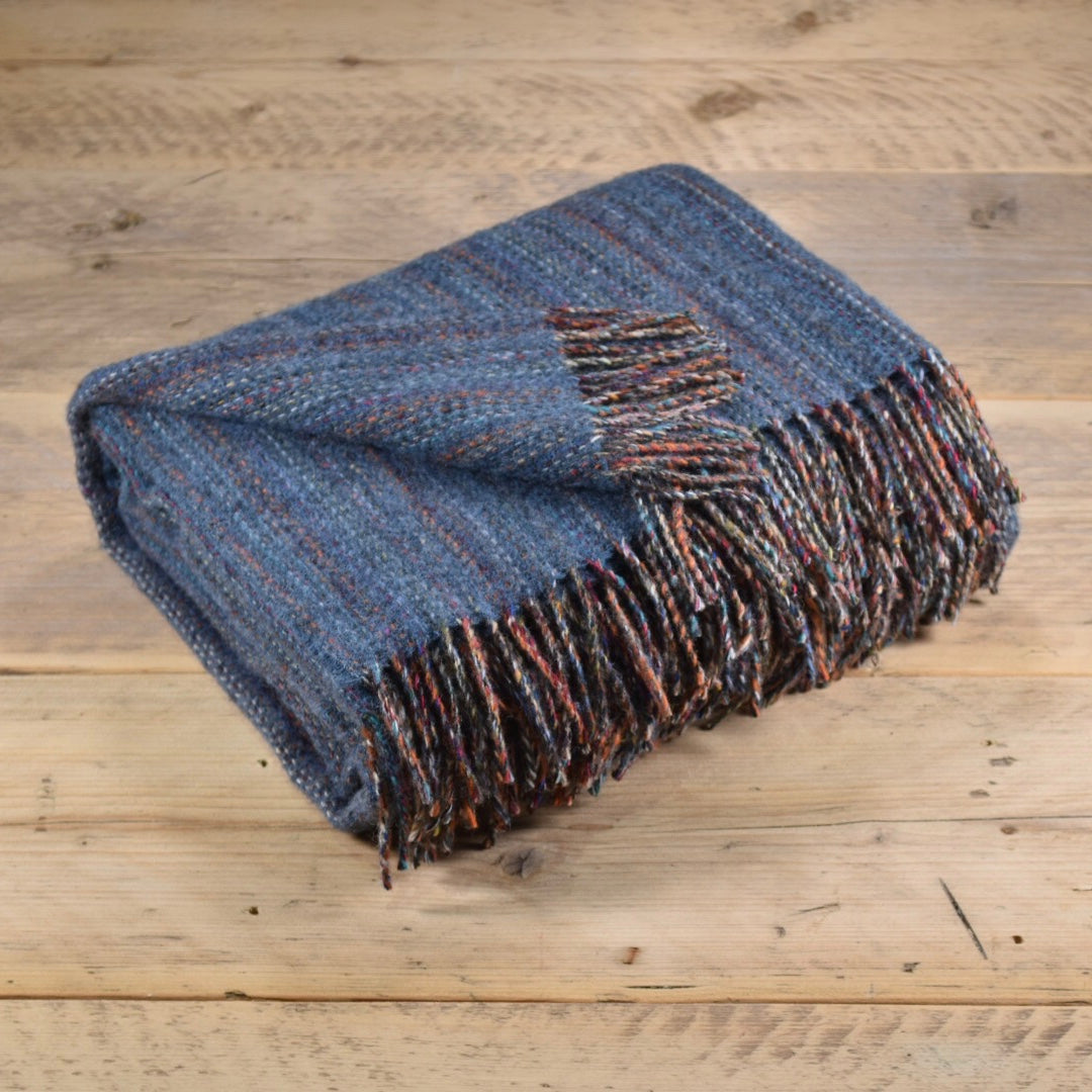 Heritage tweed wool throw - Stone blue